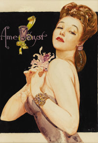 WILLY POGANY (American 1882 - 1955) Amethyst Mixed-media on board 13-1/2 x 9-1/2in. Signed lower left  PROVEN