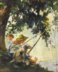 Illustration:Books, HOWARD PYLE (American 1853-1911) . Tom Sawyer Fishing. Watercolor on paper . 7.5in. x 6in. . Signed lower left: H.Pyle