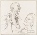 Illustration:Magazine, NORMAN ROCKWELL (American 1894-1978) . Mother and Child .Charcoal drawing on paper . 13-3/4 x 14-1/2in. . Signed lower ...