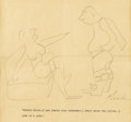 Illustration:Magazine, JAMES THURBER (American 1894 - 1961) . Untitled, 1931 .Graphite on paper . 7 -1/2 x 8in. . Signed lower right . This ro...