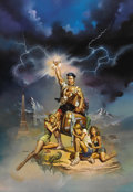 Illustration:Magazine, BORIS VALLEJO (American b.1941) . National Lampoon's EuropeanVacation, 1985 . Oil on board . 36-1/2 x 25-1/2in. . Signe...