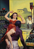 Illustration:Science Fiction, HUGH JOSEPH WARD (American 1909-1945) . Spicy MysteryStories, 1940 . Oil on canvas . 30 x 21.5in. . Signed lowerright:...