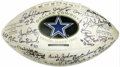 Football Collectibles:Balls, Dallas Cowboys Legends Multi-Signed Football. The history of the proud Dallas Cowboys organization is emblazoned across the...