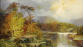 Fine Art - Painting, American:Antique  (Pre 1900), WILLIAM SONNTAG (American 1822 - 1900). Along the Ohio (ClementFalls, New Hampshire), 1851. Oil on canvas. 8 x 14in.. S...