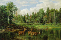 ARTHUR FITZWILLIAM TAIT (American 1819 - 1905) Good Hunting Ground: The Home of the Deer, 1881-1882 Oil on canvas 20-