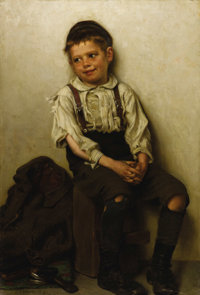 JOHN GEORGE BROWN, N.A. (British 1831 - 1913) Daydreaming (The Shoe Shine Boy), 1885 Oil on canvas 24-1/4 x 16-1/4in