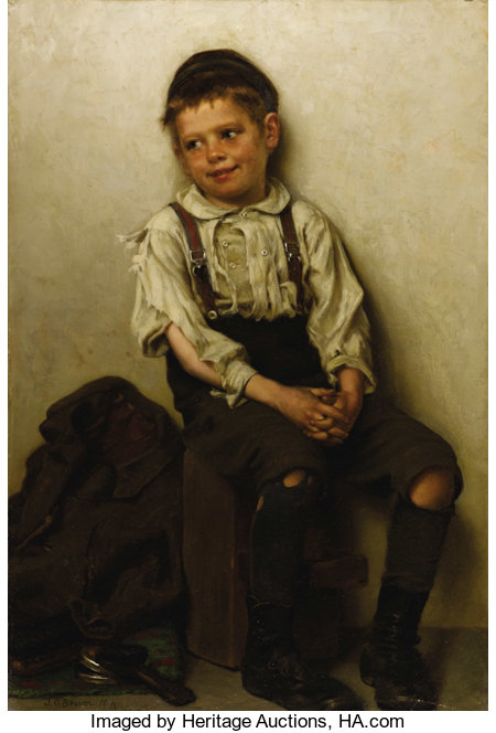 JOHN GEORGE BROWN, N.A. (British 1831 - 1913)Daydreaming (The Shoe Shine Boy), 1885Oil on canvas24-1/4 x 16-1/4in....