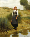 Fine Art - Painting, American:Modern  (1900 1949)  , DANIEL RIDGWAY KNIGHT (American 1839 - 1924). Daydreams. Oilon canvas. 22 x 18in.. Signed lower right, Ridgeway Knigh...