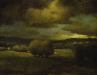 GEORGE INNESS (American 1825 - 1894) Approaching Storm, circa 1868 Oil on canvas 12-½ x 16in. Signed and indistin...