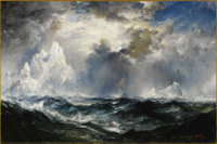 THOMAS MORAN (American 1837 - 1926) Moonlight. Icebergs in Mid Atlantic, 1910 Signed and dated at lower right (recto)...