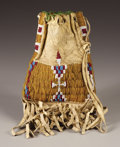 Other, A SIOUX MINIATURE BEADED HIDE TOBACCO BAG. . c. 1900. ...