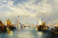 THOMAS MORAN (American 1837 - 1926) Splendor of Venice (The Grand Canal), 1904 Oil on canvas 20 x 30in. Signed and d