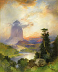 Paintings, THOMAS MORAN (American 1837 - 1926) . Devil's Tower, Green River, Wyoming, 1919. Oil on canvas. 20 x 16in.. Signed and d...
