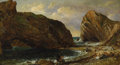American:Hudson River School, JASPER FRANCIS CROPSEY (American 1823-1900). By the Sea,Lulworth, 1857. Oil on canvas. 10in. x 18in.. Signed and dated...