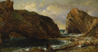 JASPER FRANCIS CROPSEY (American 1823 - 1900) By the Sea, Lulworth, 1857 Oil on canvas 10 x 18in. Signed and dated l