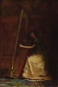 Fine Art - Painting, American:Antique  (Pre 1900), EASTMAN JOHNSON (American 1824 - 1906). Lady Playing Harp.Oil on canvas. 23-2/5 x 19-3/5in.. Signed lower right,E.J....