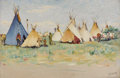 Fine Art - Painting, American:Modern  (1900 1949)  , JOSEPH HENRY SHARP (American 1859 - 1953). Crow Reservation,circa 1905. Oil on canvas. 12 x 18in.. Signed lower right. ...