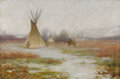 Fine Art - Painting, American:Modern  (1900 1949)  , JOSEPH HENRY SHARP (American 1859 - 1953). Winter at CrowReservation, Montana, 1905. Oil on canvas. 16-1/4 x24-1/4in....