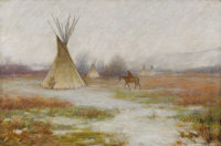JOSEPH HENRY SHARP (American 1859 - 1953) Winter at Crow Reservation, Montana, 1905 Oil on canvas 16-1/4 x 24-1/4in.&...