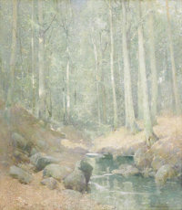 EMIL CARLSEN (American 1853 - 1932) Through the Woods, Falls Village, CT Oil on canvas laid down on masonite 44-1/2 x