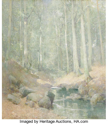EMIL CARLSEN (American 1853 - 1932)Through the Woods, Falls Village, CTOil on canvas laid down on Masonite44-1/2 x...