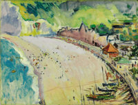 CHARLES HENRY DEMUTH (American 1883 - 1935) Biarritz, South of France, 1913 Oil on board 12 x 16in. Signed lower lef