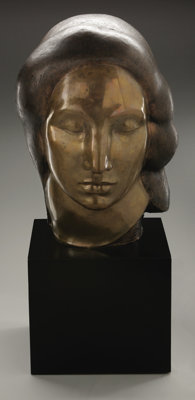 GASTON LACHAISE (French-born American 1882-1935) Egyptian Head Bronze, cast 2/8 Signed on baseG. Lachaise ©1923