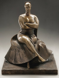 GASTON LACHAISE (French-born American 1882-1935) Seated Woman, 1927 Bronze, cast 1/9 12-5/8 x 9-1/2 x 7-3/4in. Signe