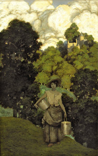 "MAXFIELD PARRISH (American 1870 - 1966) Milkmaid, 1901 Created to illustrate John Milton's poem ""L'Allegro"" pu..."