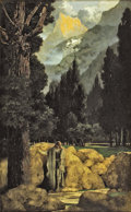"Paintings, MAXFIELD PARRISH (American 1870 - 1966). Poet's Dream, 1901. Created to illustrate John Milton's poem ""L'Allegro"" pu..."