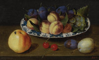 JACOB VAN HULSDONCK (Flemish 1582 - 1647) Still Life with Fruit, circa 1620-25 Oil on oak panel 7-7/8 x 12-7/8in. Si
