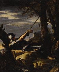 SALVATOR ROSA (Italian 1615 - 1673) Penitent Saint William of Maleval, circa 1645-50 Oil on canvas 30 x 24-1/4 inches
