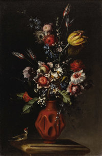 TOMMASO REALFONSO, known as MASILLO (Italian 1677 - 1743) Flowers in a Delft Vase (set of four) Oil on canvas 28-3/8