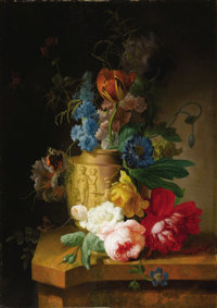 PETER FAES (Flemish 1750 - 1814) Floral Still Lifes (a pair), circa 1790s Oil on cradled wooden panels 23-1/2 x 16-1
