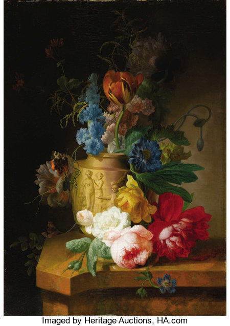PETER FAES  (Flemish 1750 - 1814)Floral Still Lifes (a pair), circa 1790sOil on cradled wooden panels23-1/2 x 16-1... (Total: 2 Items)