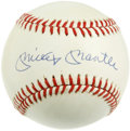 Autographs:Baseballs, Mickey Mantle Single Signed Baseball. Beautiful sweet spot signature courtesy of the Bronx Bombers' immortal #7. LOA from...