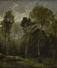 JOHN CONSTABLE (British 1776 - 1837) View of a Copse, circa 1809 Oil on canvas 24 x 19-1/2 inches Inscribed by a lat