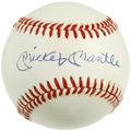 Autographs:Baseballs, Mickey Mantle Single Signed Baseball. The OAL (Brown) sphere thatwe see here is the home for a 10/10 signature from Yanke...
