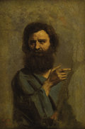 Fine Art - Painting, European:Antique  (Pre 1900), JEAN-BAPTISTE-CAMILLE COROT (French 1796 - 1875). Study for theHead of St. John the Baptist, 1844-45. Oil on canvas. 9-...