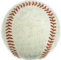 Autographs:Baseballs, Vintage Stars Multi-Signed Baseball. An tremendous collection ofAll-Star baseball talent has been amassed on the surface o...