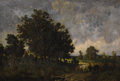 Fine Art - Painting, European:Antique  (Pre 1900), THÉODORE ROUSSEAU (French 1812 - 1867). Vachère dans un paysage, circa 1840-1845. Oil on canvas on panel. 8-3/16 x 12-5/...