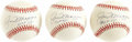 """Autographs:Baseballs, Joe DiMaggio """"HOF 55"""" Single Signed Baseballs Lot of 3. We all knowhow hot signature variations and notations are in the h... (Total:3 Items)"""