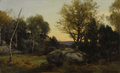 Fine Art - Painting, European:Antique  (Pre 1900), THEODORE ROUSSEAU (French 1812 - 1867). Evening Landscape, Rocher Besnard in the Forest of Fountainbleau. Oil on board. ...