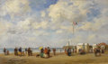 Fine Art - Painting, European:Antique  (Pre 1900), Attributed to EUGÈNE-LOUIS BOUDIN (French 1824 - 1898). The Beach at Trouville. Oil on canvas. 9-1/2 x 15-1/2 inches. S...