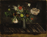BALTHUS (BALTHASAR KLOSSOWSKI DE ROLA) (French 1908 - 2001) Le Bouquet de Fleurs, 1941 Oil on artist's board 28-¾...