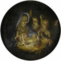 Fine Art - Painting, European:Antique  (Pre 1900), Ascribed to GIUSEPPE MARIA CRESPI (Italian 1665 - 1747). TheNativity. Oil on panel. 11-1/2 x 11-1/2 inches (round). P...