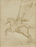 Old Master:Italian, Attributed to FRANCESCO DI GIORGIO MARTINI (Italian 1439 - 1501). Man on a Horse (recto) & Two Figures (verso). Ink ...
