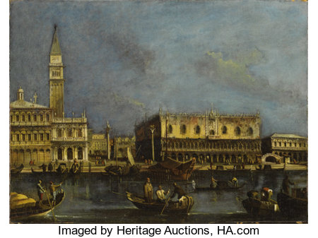 Circle of FRANCESCO GUARDI (formerly called LUCA CARLEVARIJS) (Italian 1712 - c. 1793)View of the Grand Canal, Venice wi...