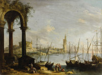 Attributed to MICHELE MARIESCHI (Italian 1696 - 1743) Venice Oil on canvas 28 x 37-1/2 inches  PROVENANCE: Newhous