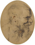Old Master:Other, SIR ANTHONY VAN DYCK (Flemish 1599 - 1641). Study of the Head ofan Old Man Looking Right, circa 1618. Black and red cha...